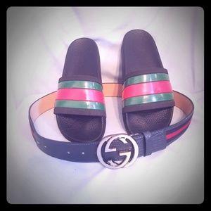 Authentic Gucci slides & gucci belt